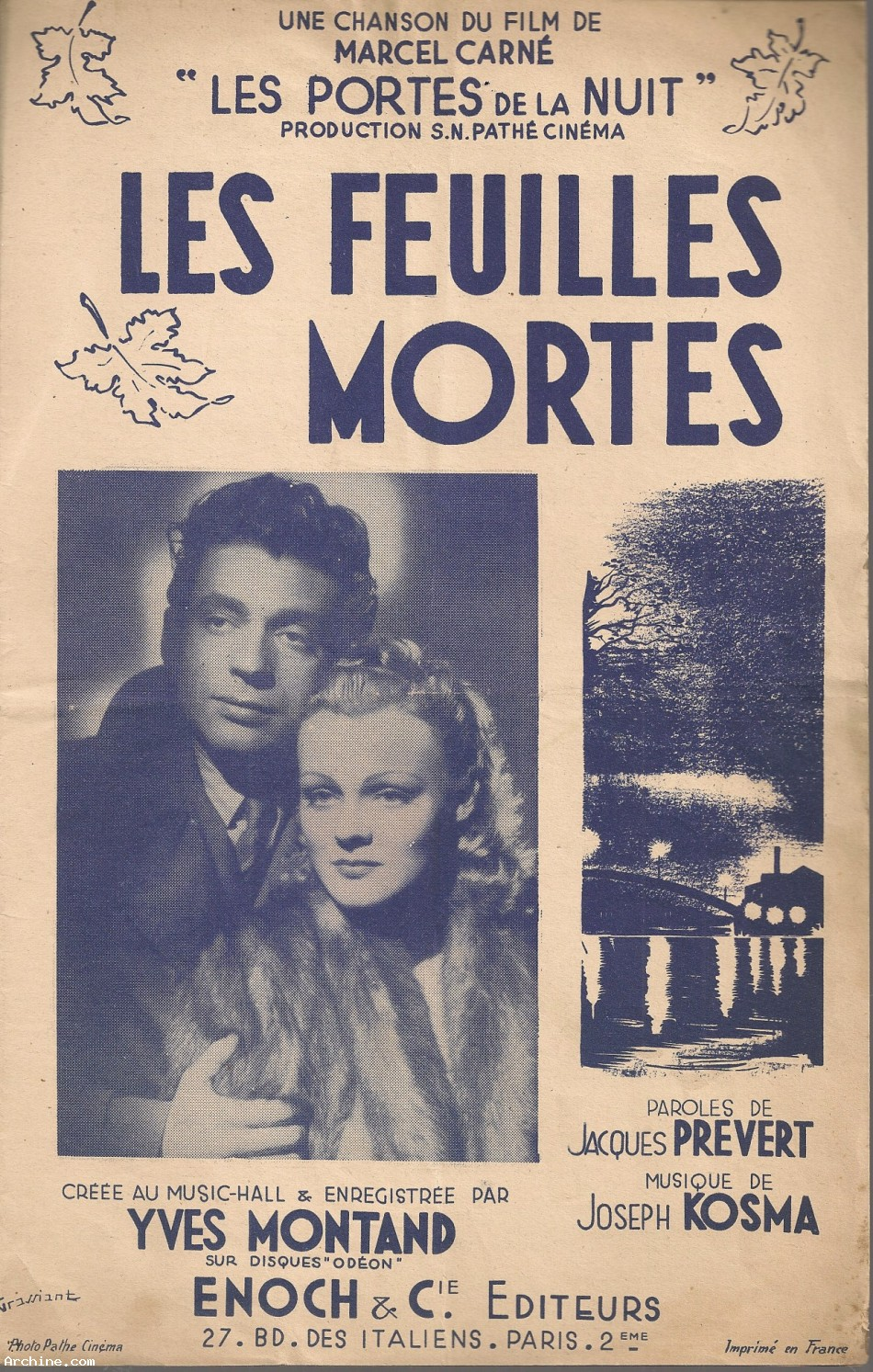 Partition les feuilles mortes yves montand ann e for Le jardin yves montand