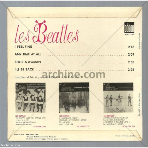 "45t EP (7"") LES BEATLES I feel fine (Label de type 3 - 1964)"