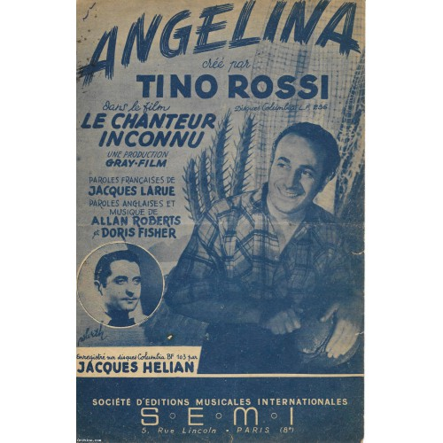 Partition - Angelina - Tino Rossi - année 1947