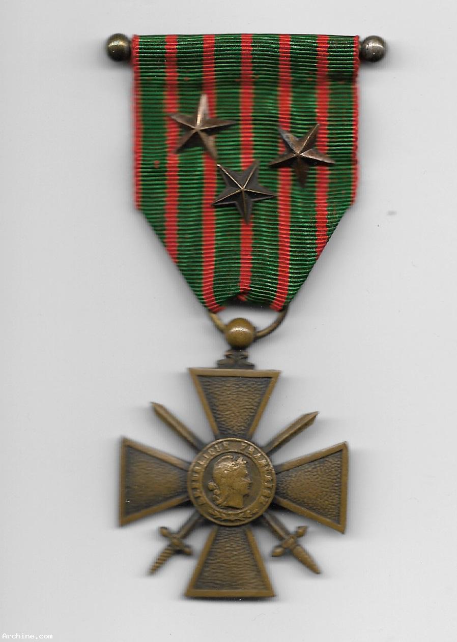 m daille d coration militaire croix de guerre 14 18 3